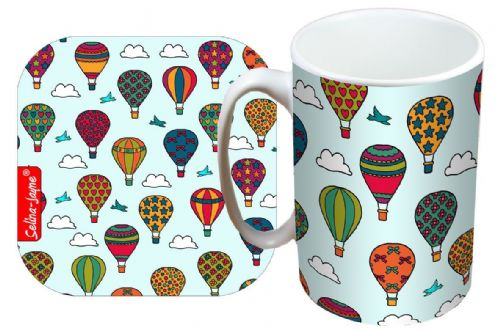 Selina-Jayne Hot Air Balloons Limited Edition Designer Mug and Coaster Set